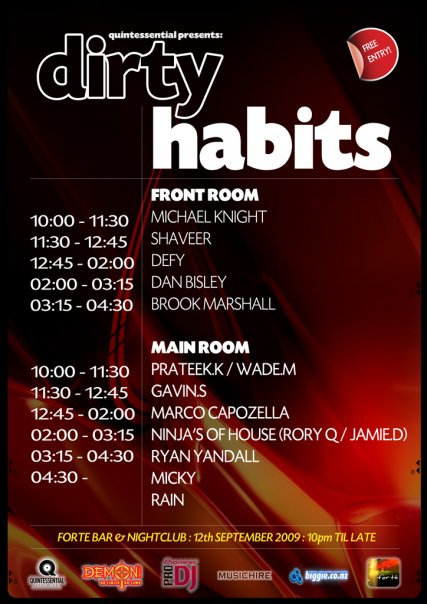 dirty habits lineup